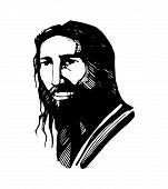 foto of jesus  - Hand drawn vector illustration or drawing of Jesus Christ face - JPG