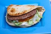 picture of souvlaki  - Greek pita with meat salad tomato and sauce - JPG