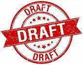 stock photo of draft  - draft grunge retro red isolated ribbon stamp - JPG