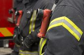 stock photo of fire insurance  - Close up photo of a fire fighter - JPG