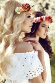 image of headband  - fashion outdoor photo of two beautiful charming girls in elegant dresses and flower - JPG