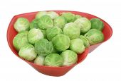 stock photo of brussels sprouts  - brussel sprouts in heart shape bowl isolated on white background - JPG