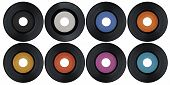 foto of jukebox  - Blank set of vintage vinyl records isolated on white background - JPG