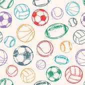 foto of balls  - Sports Balls Background - JPG