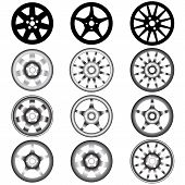 pic of alloy  - automotive wheel with alloy wheels vector illustration - JPG