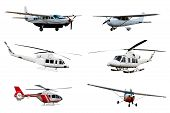 image of helicopter  - Collection of airplane and helicopter isolated over white background - JPG