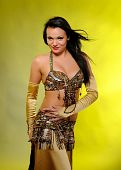Beautiful Dancer Woman In Bellydance Costume With Pretty Professional Stage Make-up