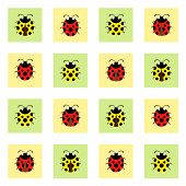 pic of ladybug  - Red and yellow ladybugs in squares pattern - JPG