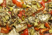 picture of leek  - Vegetables mix baked in the oven with aubergine - JPG