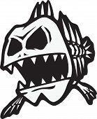 stock photo of skeletal  - A cartoon of a skeletal fish - JPG