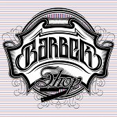 picture of barber  - stylish vector sign for a barber shop - JPG