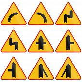 picture of intersection  - Collection of Polish warning signs regarding curves and intersections - JPG