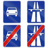 stock photo of traffic sign  - Polish traffic signs for beginning and end of fast traffic highways and motorways - JPG