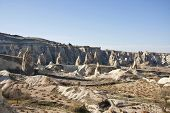 foto of chimney rock  - The landscape of Cappadocia with rock formations at sunny autumn day - JPG