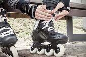 stock photo of roller-skating  - Close - JPG