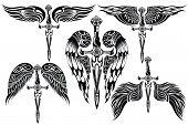 stock photo of sword  - Tattoo set - JPG