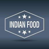 stock photo of indian food  - indian food hexagonal white vintage retro style label - JPG