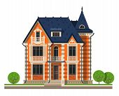 image of manor  - brick building on a white background - JPG