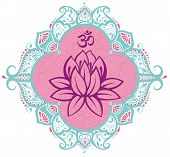 stock photo of ohm  - Beautiful decorative  frame with lotus - JPG