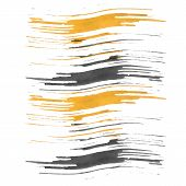picture of stroking  - Watercolor vector illustration or banner with waves black and yellow dry brush strokes on gray background - JPG