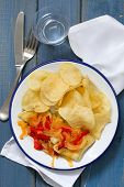 picture of cod  - fried cod fish with vegetables on white dish - JPG