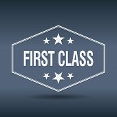 stock photo of first class  - first class hexagonal white vintage retro style label - JPG