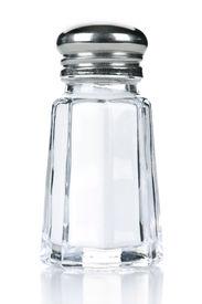 image of salt shaker  - Glass salt shaker isolated on white background - JPG