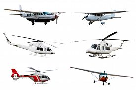 pic of helicopters  - Collection of airplane and helicopter isolated over white background - JPG