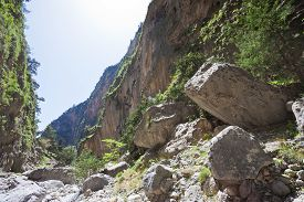 stock photo of samaria  - Giant stones within the gorge of Samaria - JPG
