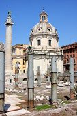 Traian Column And Santa Maria Di Loreto In Rome