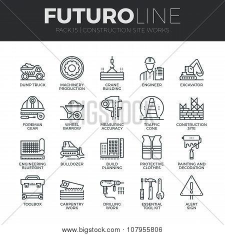 Construction works futuro line icons set poster id107955806 construction works futuro line icons set poster malvernweather Image collections