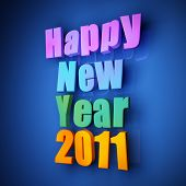 image of new years celebration  - Colorful words of happy new year 2011 on blue background - JPG