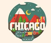Chicago beautiful city in world. Vector illustration poster