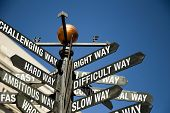 Directional Sign Post With Mixed Message, Correct, Difficult, Slow, Challenging, Hard, Ambitious poster
