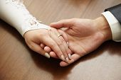 stock photo of wedding couple  - Hands of a newly - JPG