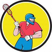 Lacrosse Player Crosse Stick Running Circle Cartoon poster