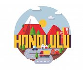 Honolulu city travel destination in USA. vector cartoon, poster