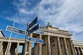 Brandenburg Gate And Tourist Signs poster