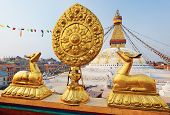 Golden Brahma Symbol In Front Of Boudha Nath (bodhnath) Stupa In Kathmandu, Nepal