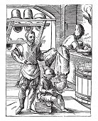 Постер, плакат: The hatter in the sixteenth century after the woodcut J Amman vintage engraved illustration Indus