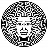 Illustration Of Medusa Gorgon Head  With Snake Hair.