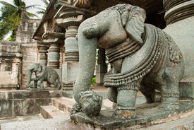 image of belur  - A sculpture of an elephant at the temple in Belur Karnataka India - JPG