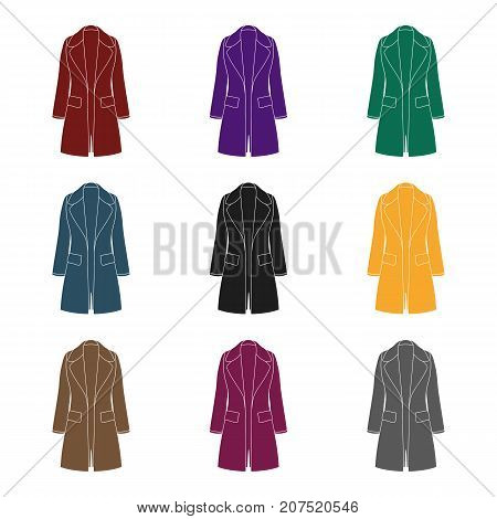poster of Blue female restrained coat buttoned. Women's outerwear.Women clothing single icon in black style vector symbol stock web illustration.