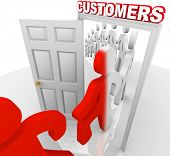 A line of people step through a doorway marked Customers and become transformed from prospects into