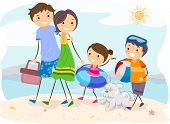 Illustration of a Family Outing at the Beach