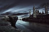 View Of Dark Castle With Dark Sky poster