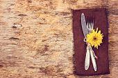 Fork, Knife, Napkin, Cutlery. poster