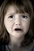 pic of young girls  - Portrait of little girl crying with tears rolling down her cheeks - JPG
