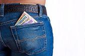 Money In Girls Jeans Back Pocket