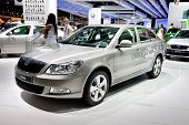 Moscow, Russia - August 25:  Grey Car Skoda Octavia At Moscow International Exhibition Interauto On